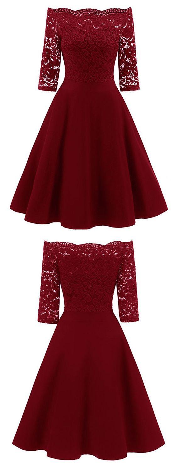 Lace off the shoulder vintage flare dress vintage dresses th