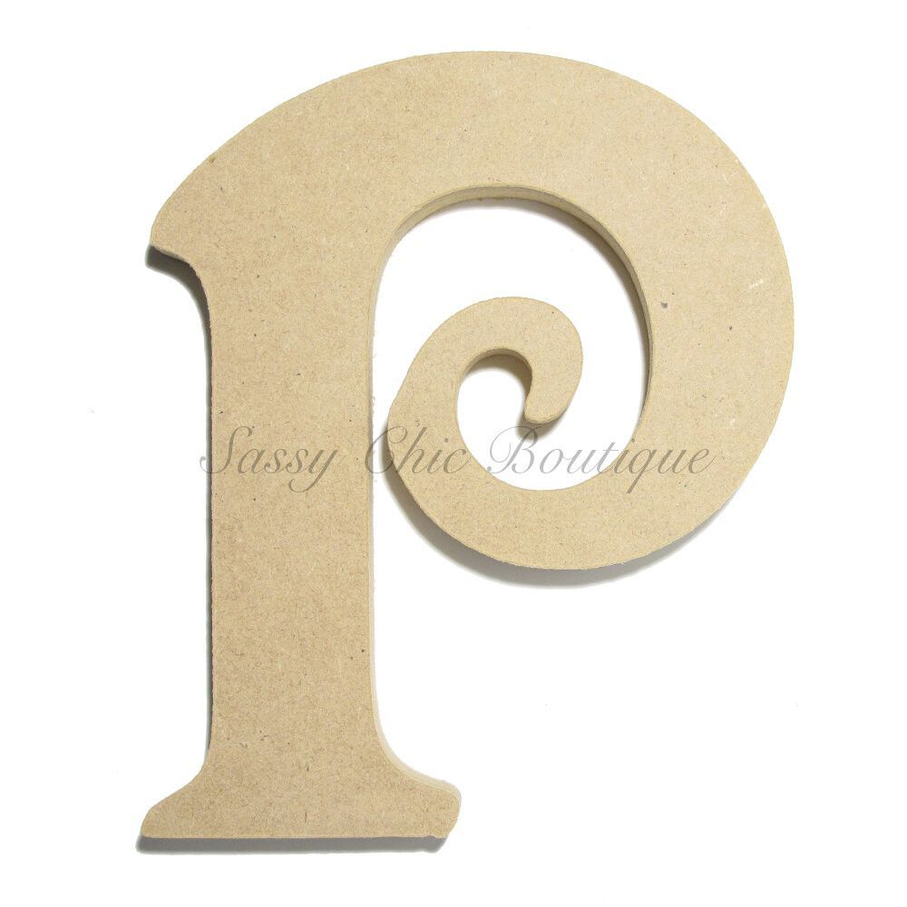 unfinished wooden letter uppercase p victorian font