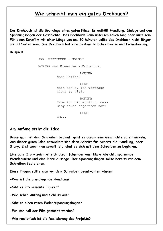 Wie Schreibt Man Ein Gutes Drehbuch Unterrichtsmaterial In Den Fachern Deutsch Kunst In 2020 Drehbuch Schreiben Gute Filme