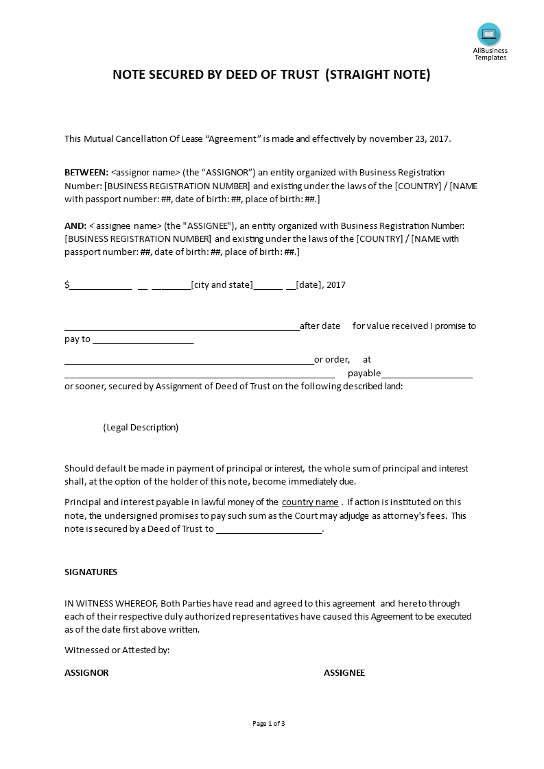 Note Secured By Deed Or Trust Straight Note Are You Looking For Note Secured By Deed Or Trust Straight Note Downl Notes Template Templates Business Template