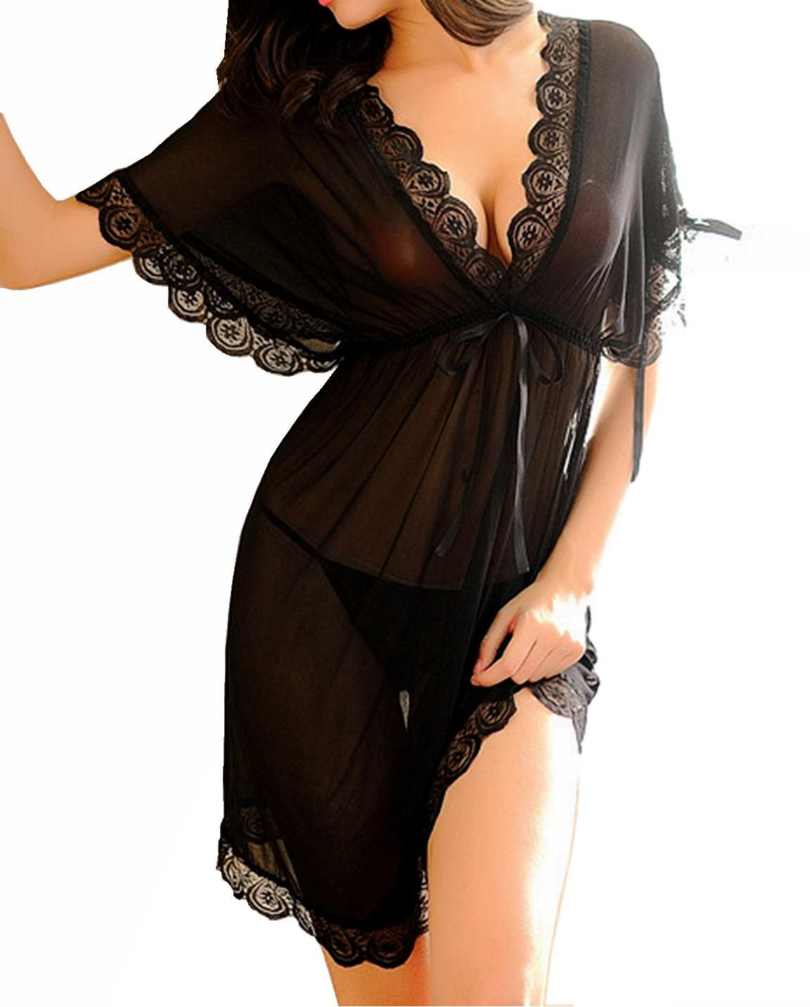 Ms demon lingerie low cut batwing sleeves mesh with