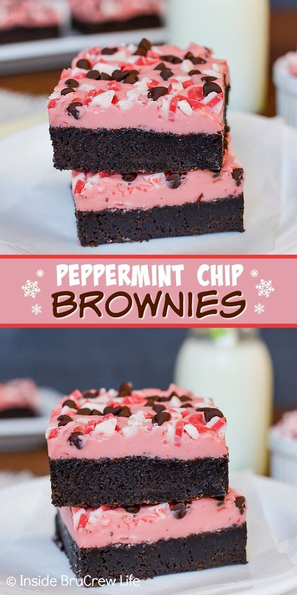 Peppermint Chip Brownies Peppermint Chip Brownies - homemade brownies topped with a creamy peppermi