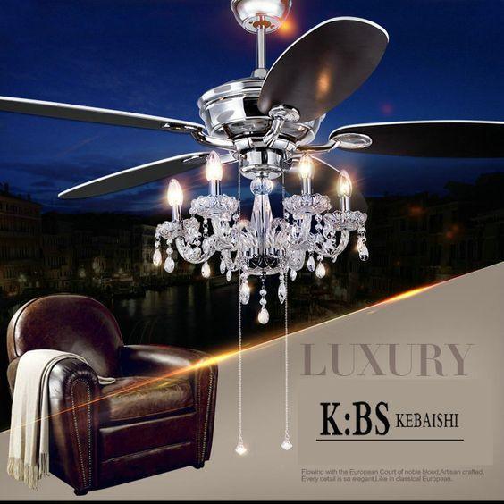 Crystal Lamp Fan Living Room Ceiling Fan Light Restaurant With