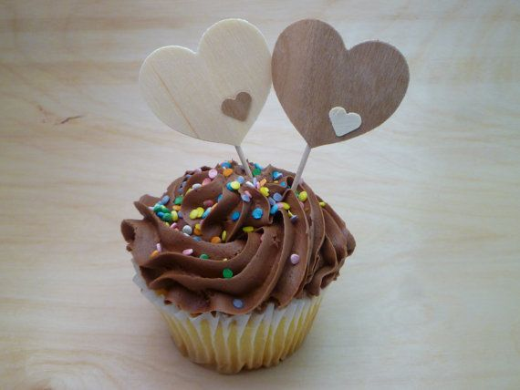 Real Wood Heart Cupcake Topper Set of 12 by PartyOnArborLane