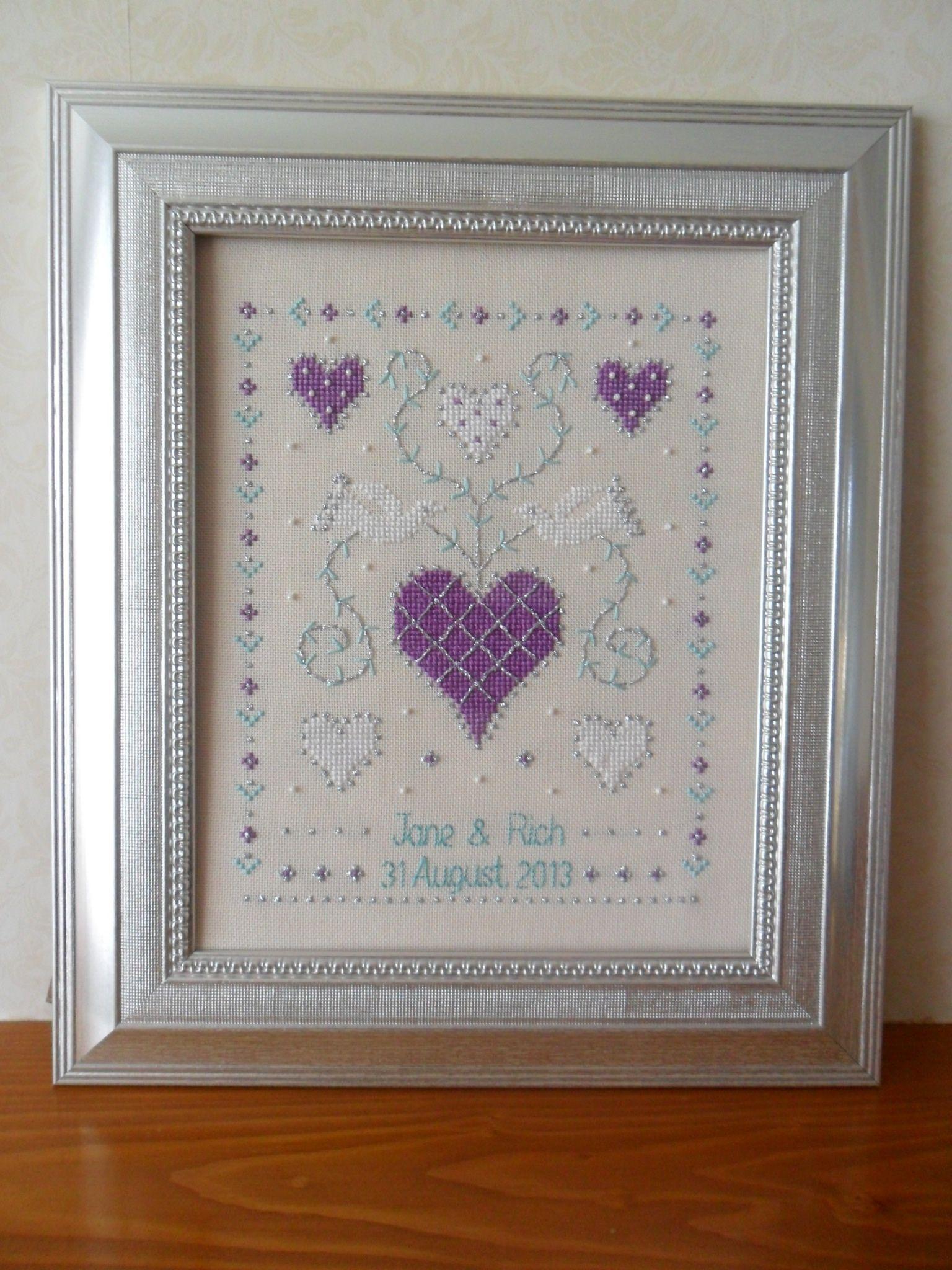 Cross stitch wedding sampler gift #crossstitch #wedding