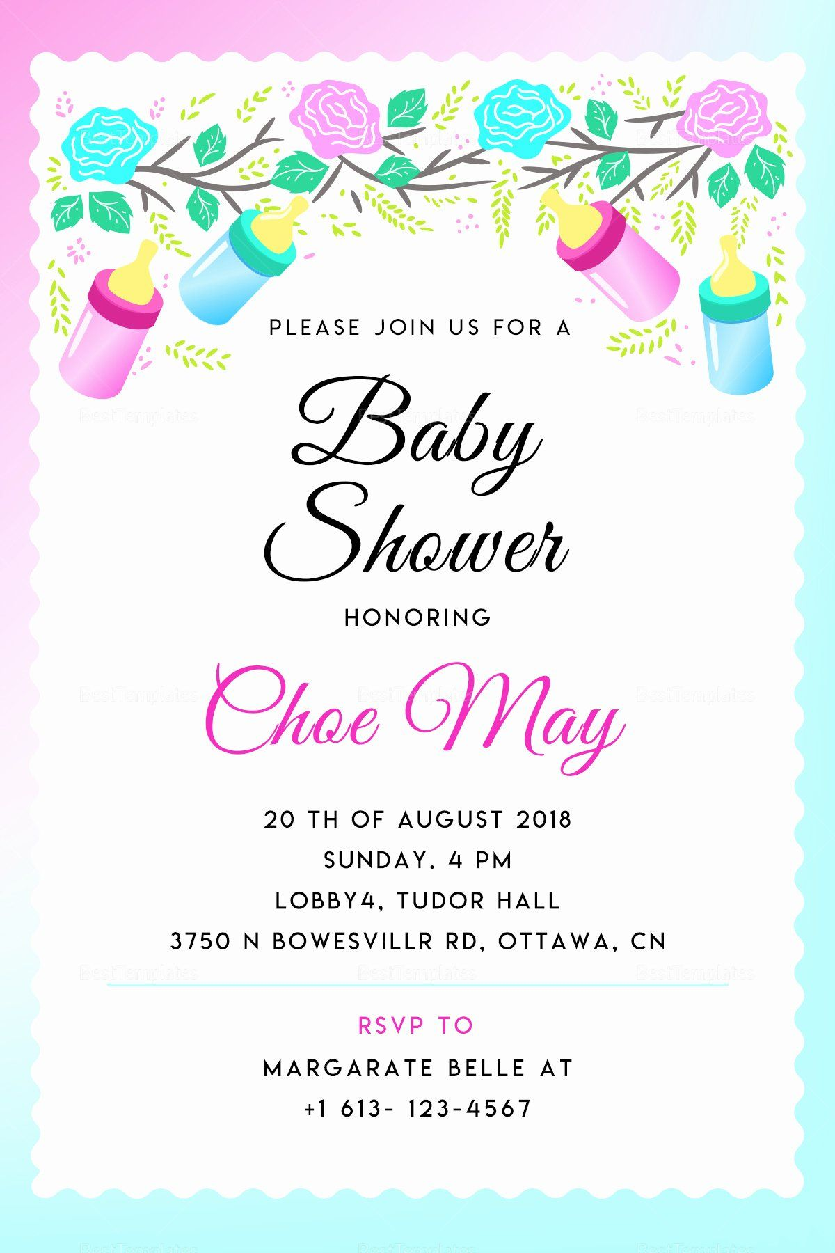 Baby Shower Invitation Template Photoshop Inspirational Editable