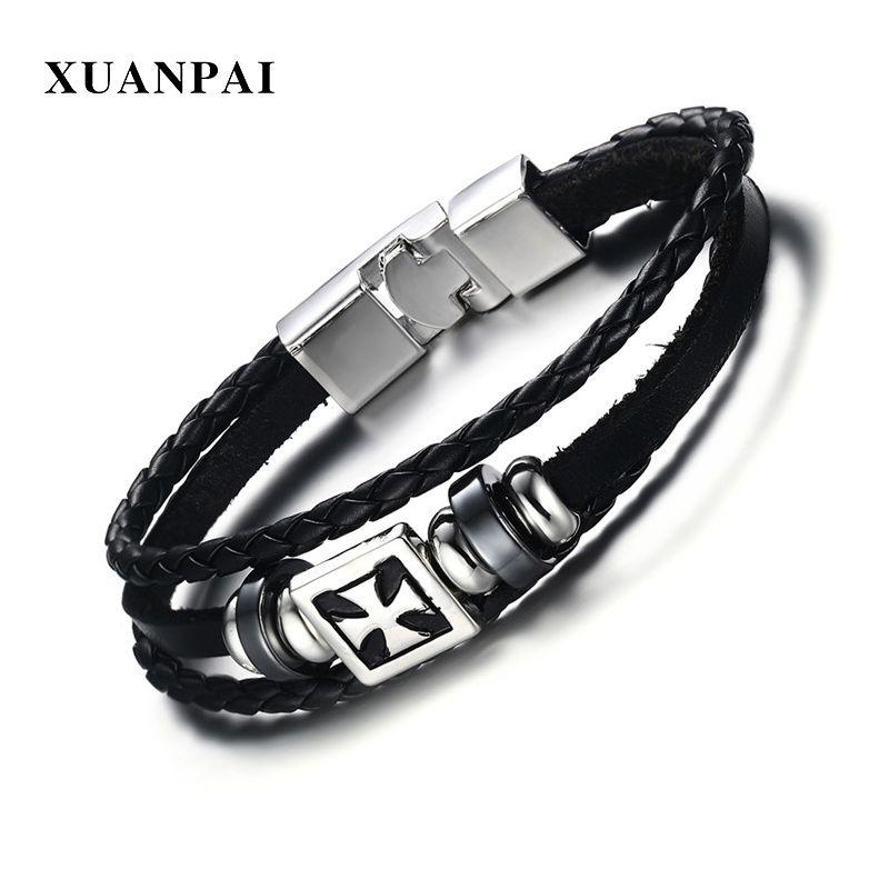 643f81c90b9a0 XUANPAI Classic Cross ID Charm Bracelet for Men Punk Black Braided Leather  Chain Wrist Hand Pulseira Masculina 8.8
