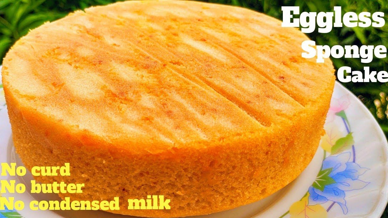Eggless Sponge Cake Soft Edges Flat Layer Cake No Curd Butter Condensed Milk Cream Or Oven Used You In 2020 Sponge Cake Recipes Easy Cake Recipes Eggless Sponge Cake