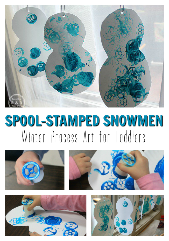 This easy winter snowman art is fun for toddlers! Recycle your empty sewing spools and you have simple process art.