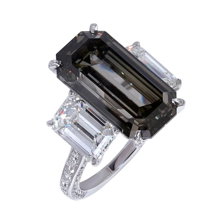 Moussaieff 11.07-carat Fancy Dark Grey VVS1 emerald-cut diamond which has a smoky grey allure. Find out about unusual coloured diamonds, the science and the beauty behind them and how they are being set in to jewellery that is fashion forward and popular: http://www.thejewelleryeditor.com/jewellery/article/unusual-coloured-diamonds-green-blue-orange-grey/ #jewelry
