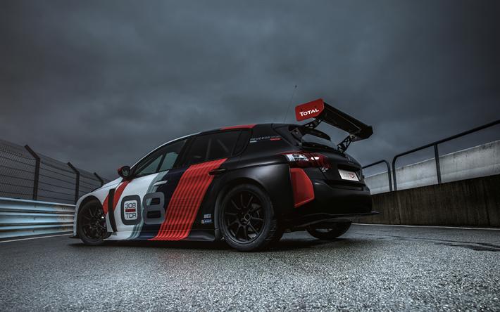 Download wallpapers 4k, Peugeot 308 TCR, raceway, 2018 cars, rear ...