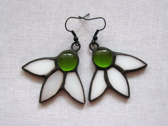 Stained glass earrings Snowdrops Spring gift for her Tiffany jewellery Flowers dangle earrings Handmade glass art Mother's day gift