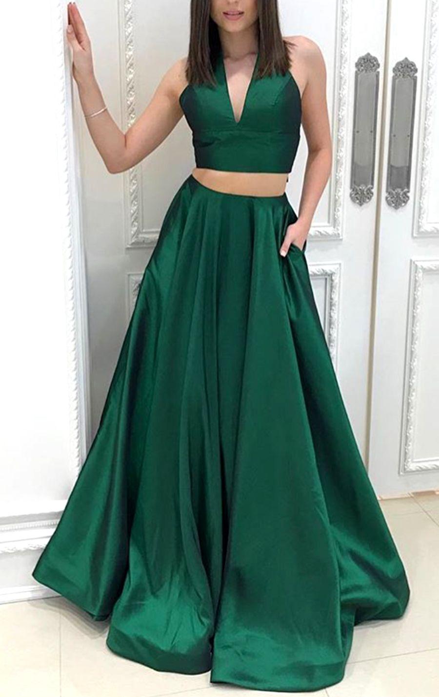 Halter v neck piece taffeta prom dress green formal evening gown