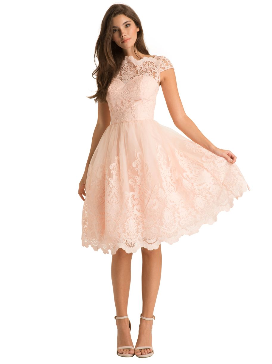 Chi Chi London Gilded Grace Lace Dress in Ivory   Blush pink dresses ...