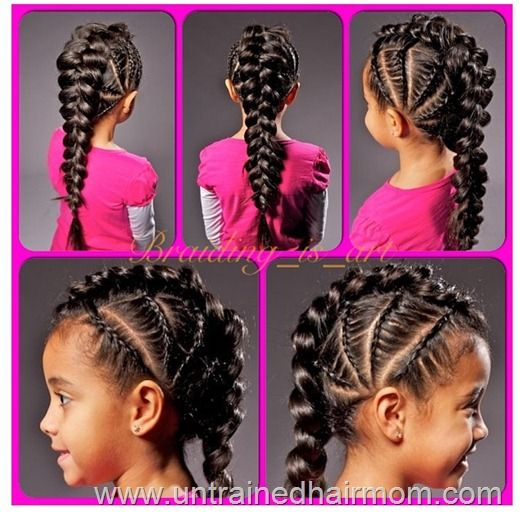 Cornrow The Scalp One Big Braid For The Rest Hair Styles Mixed Girl Hairstyles Kids Hairstyles