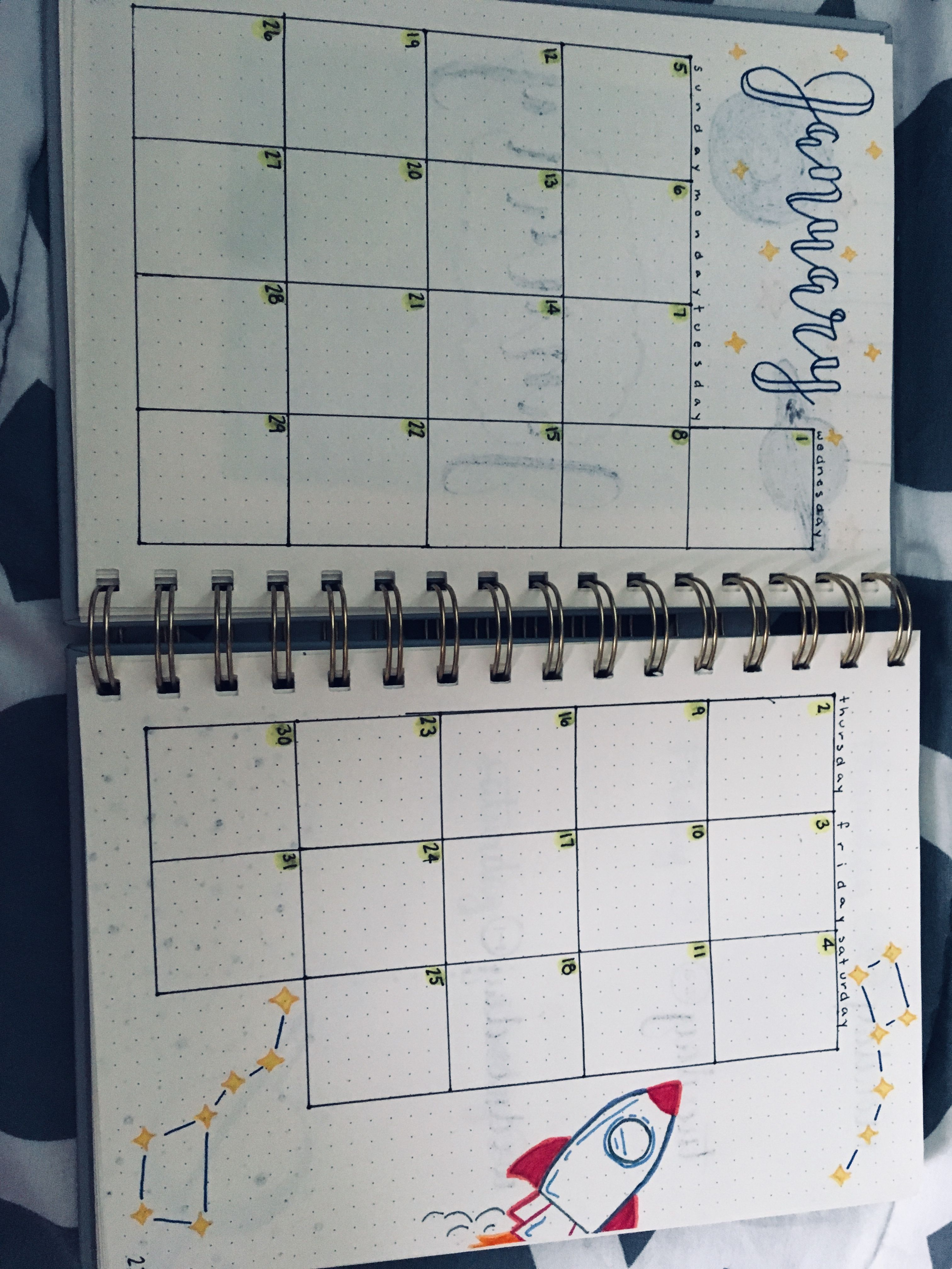 January! 2020! Space theme! Bullet Journal! Rocket! Stars