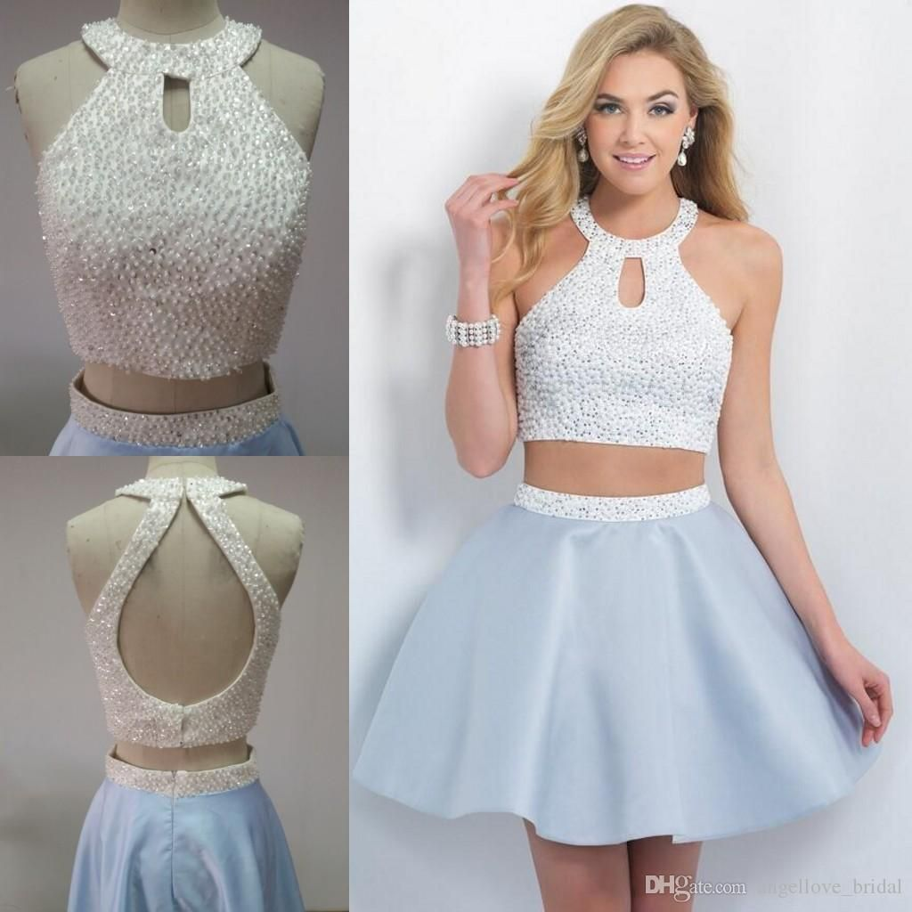 Short Two Pieces 2016 Homecoming Dresses Halter Open Back Sweet Sixteen Dress Prom Party Gown Beaded Sequins Taffeta Cocktail Party Dress From Angellove Bridal Prom Dresses Fancy Short Dresses Homecoming Dresses [ 1024 x 1024 Pixel ]