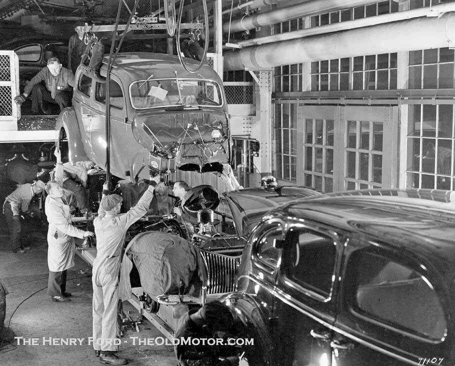 The Photo Above Shows The Body Drop Station On The Assembly Line At The Ford Motor Company River Rouge Complex In 1939 This Complex M Ford Motor Company Ford Classic Cars Ford