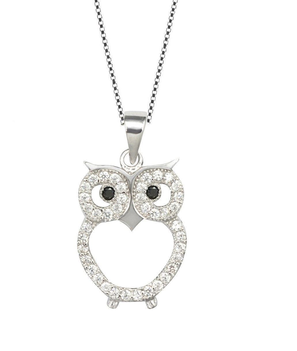 Sterling silver owl pendant chain womens jewelry necklace inch