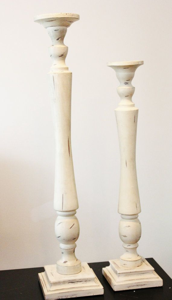 30 Very Tall Distressed Ivory Candlestick Pillar Candle Holder Large Vintage Style Wedding Shabby Chic Wooden