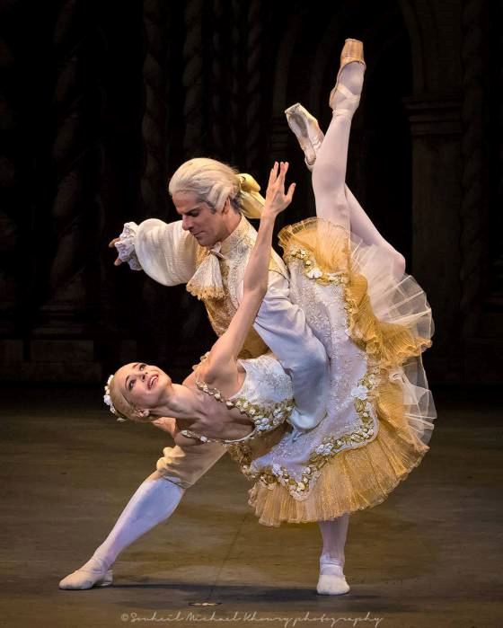 """Diana Vishneva as Princess Aurora and Marcelo Gomes as Prince Désiré (American Ballet Theatre) # """"The Sleeping Beauty"""" choreography by Marius Petipa, staging and additional choreography by Alexei Ratmansky # (World premiere on March 3, 2015 at Segerstrom Center for the Arts in Costa Mesa, California) # Photo © Souheil Michael Khoury"""