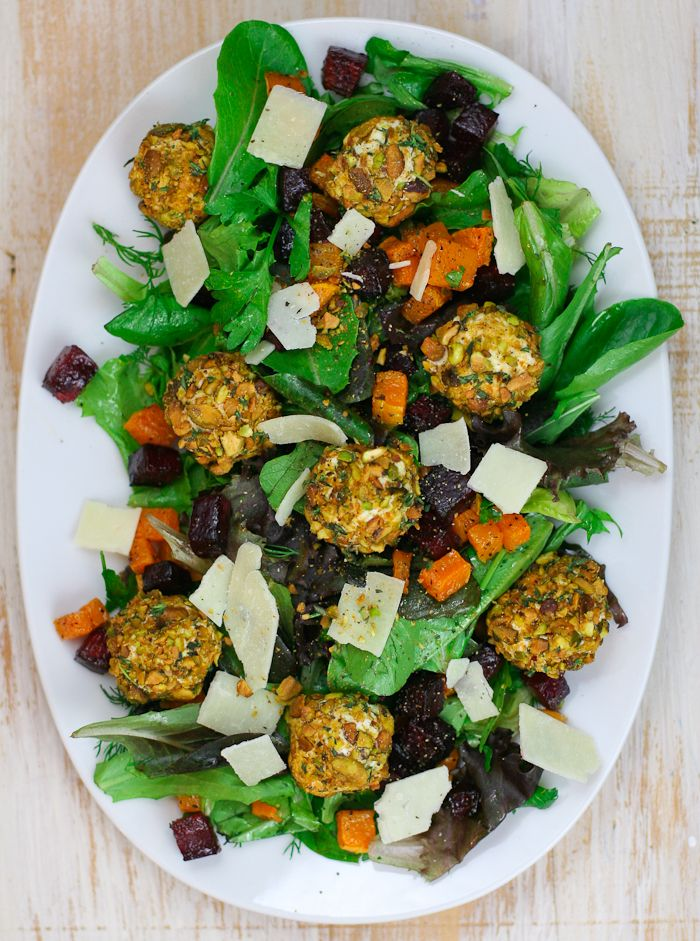 Butternut Squash & Beet Salad with Pistachio Crusted Goat Cheese Balls