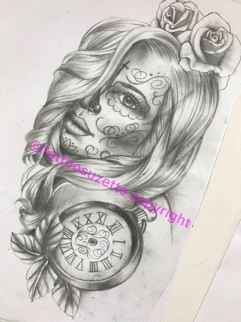 Santa Muerte Tattoo Design Skull Girl Tattoo Girl Back Tattoos Sleeve Tattoos