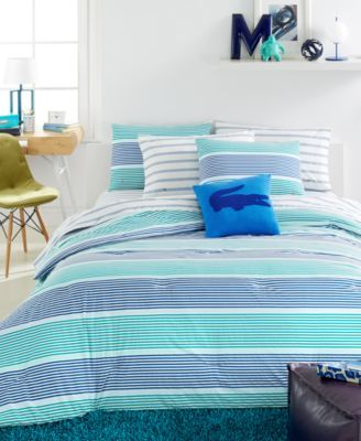 closeout! lacoste college collection aviron blue comforter sets
