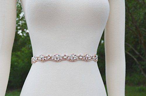 Skinny Rose Gold Rhinestone and Bead Sash Belt for Wedding Dress >>> You can get additional details at the image link.