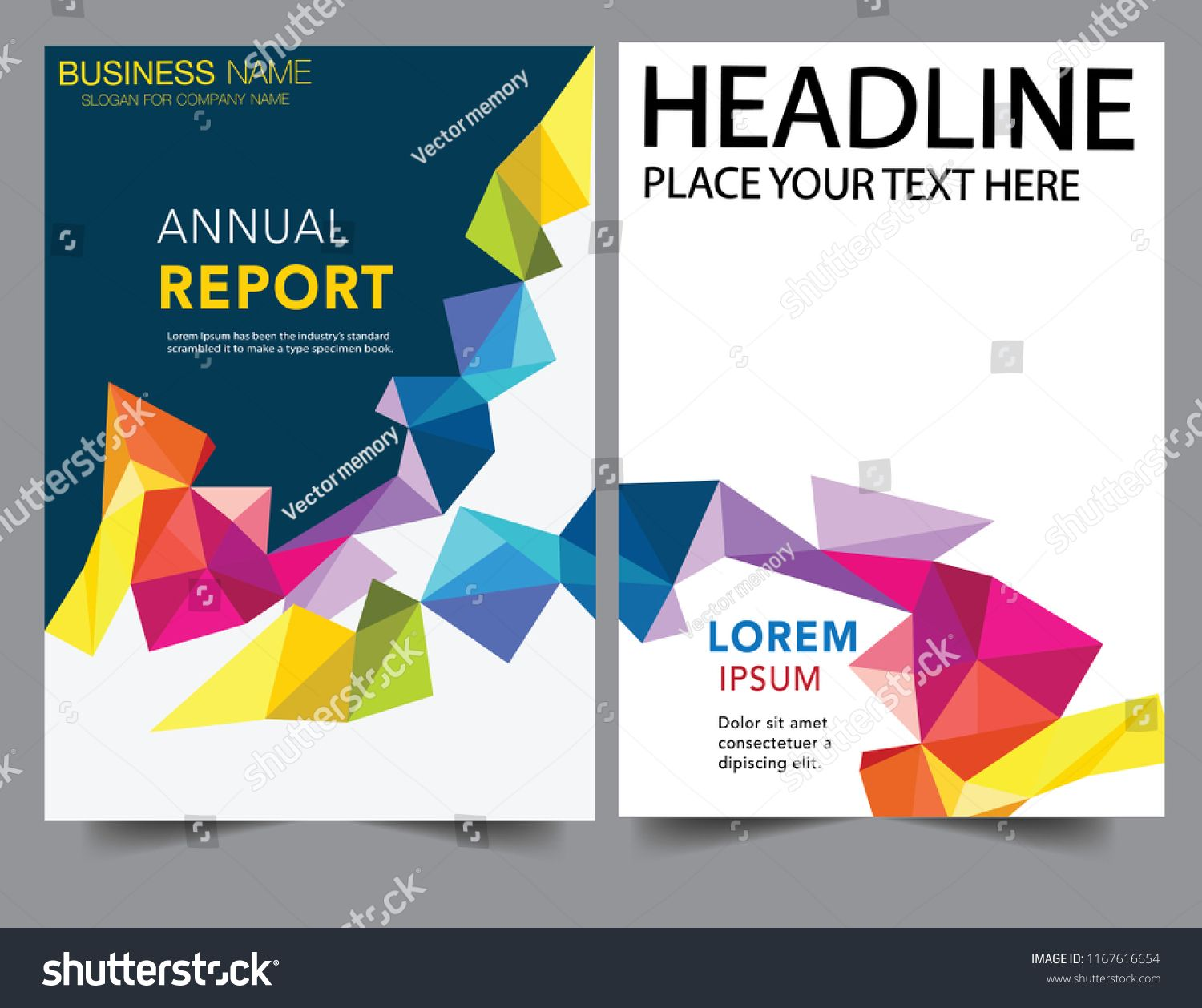 Abstract Geometric Colorful Report Cover Business Book Cover Design Template In A4 Can B Book Design Templates Book Cover Design Book Cover Design Inspiration