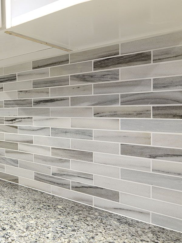 Modern white gray marble kitchen backsplash tile from Backsplash