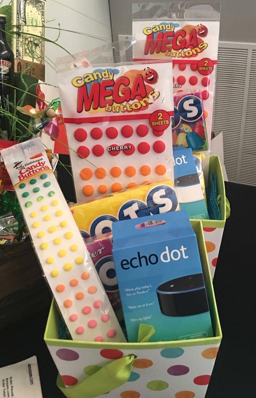 Dot themed basket includes amazon echo dot echo dot book
