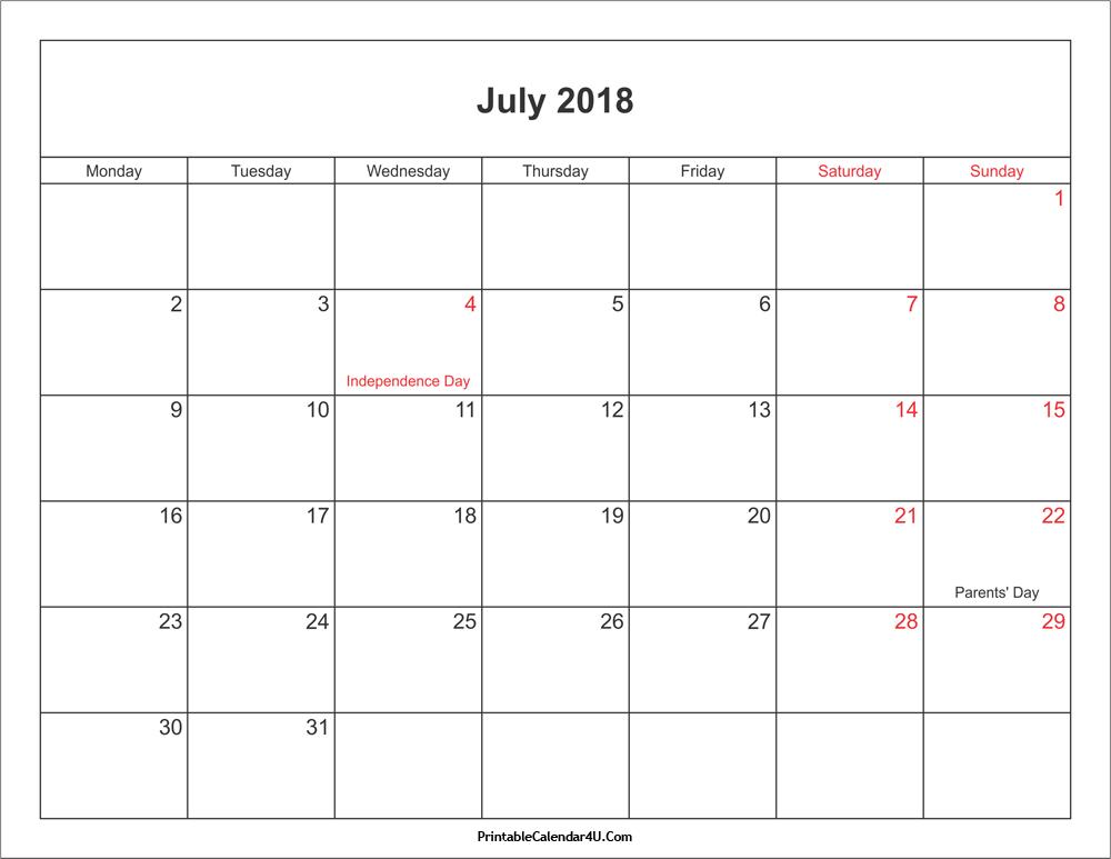 July 2018 Calendar Printable With Holidays Pdf And Jpg Printable Calendar Template Calendar Printables Free Printable Calendar