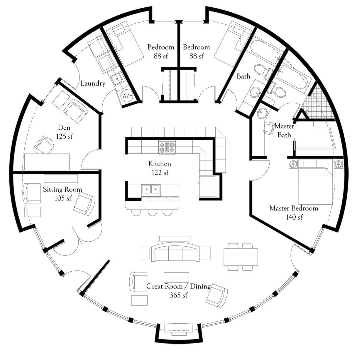 plan number dl5006 floor area 1 964 square feet diameter 50 3 an engineer s aspect monolithic dome home floor plans change the den into a sunroom and i m sold