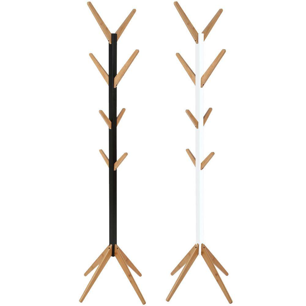 Wooden Hat Coat Stand Floor Standing Bamboo Modern Hall