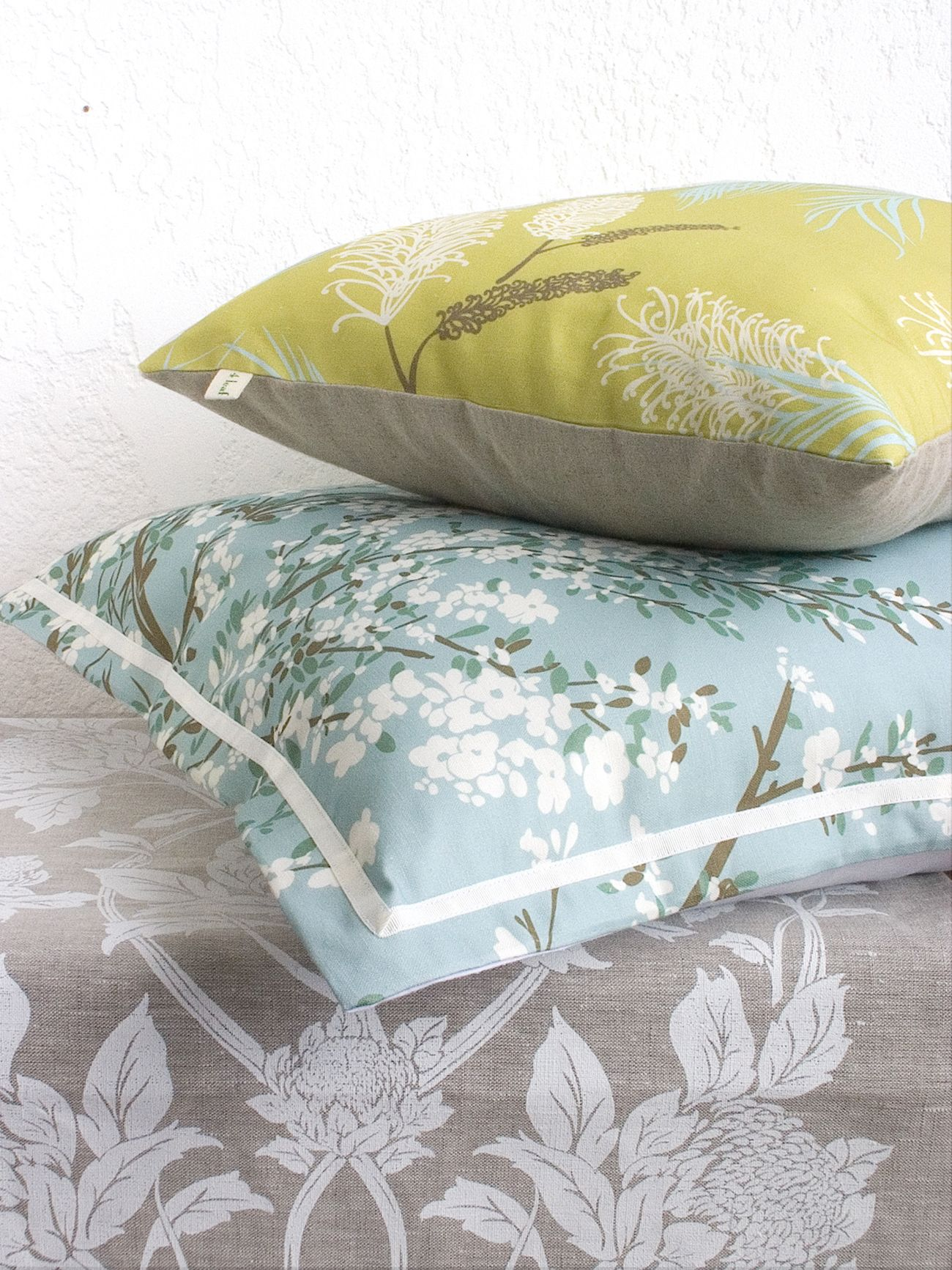 leaf clover grevillea cushion cover in chartreuse cotton linen