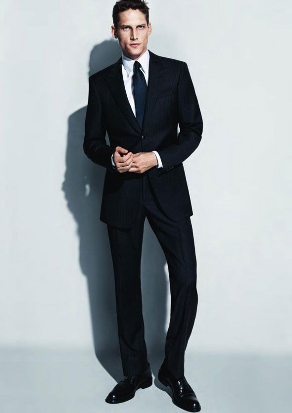 9414b8a7821c Giorgio Armani s navy blue suit.  groom