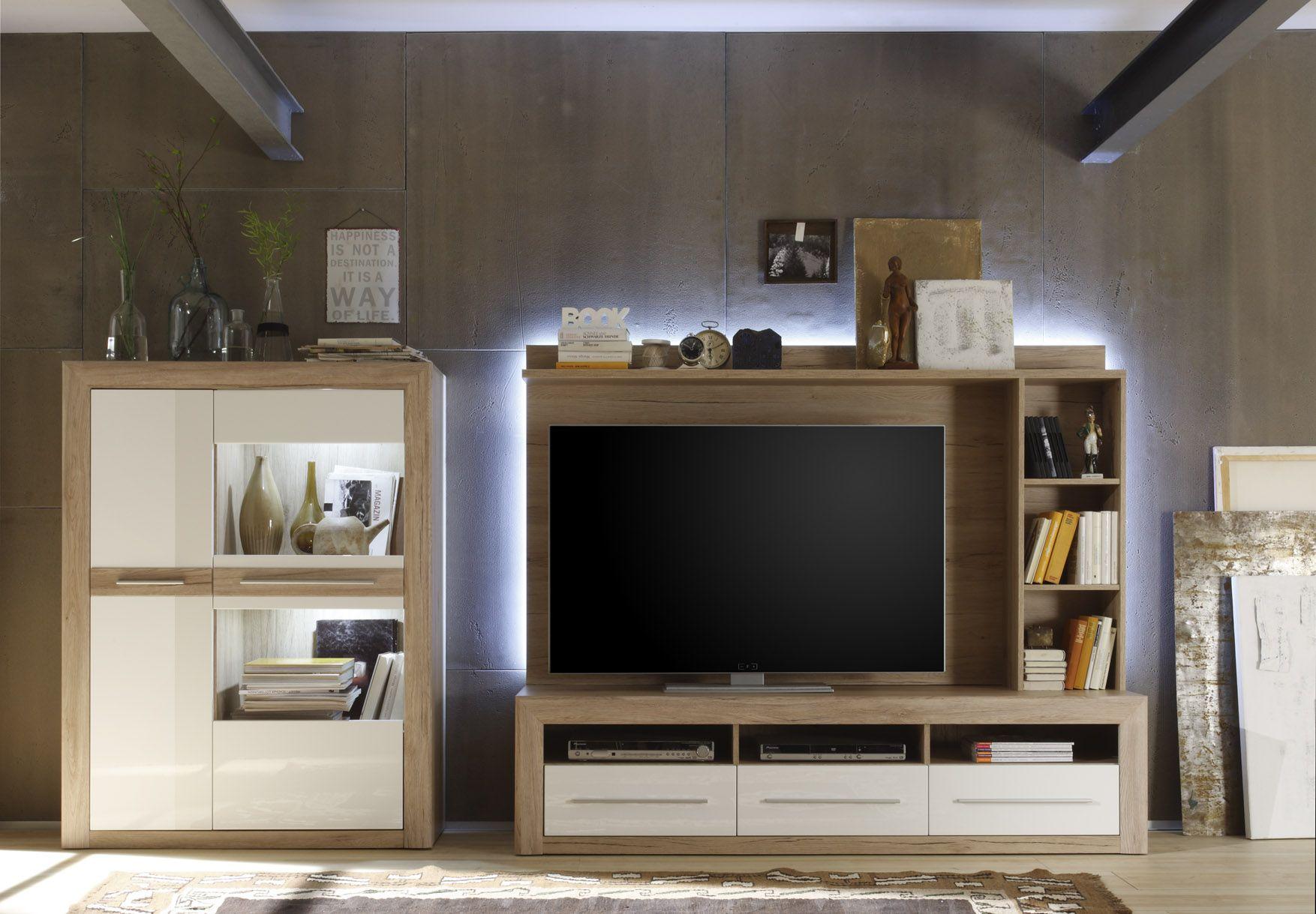 Wohnwand Lana II 3tlg. Hochglanz Weiß und Sanremo Sand passend zum Möbelprogramm Lana 1 x Kombi ...