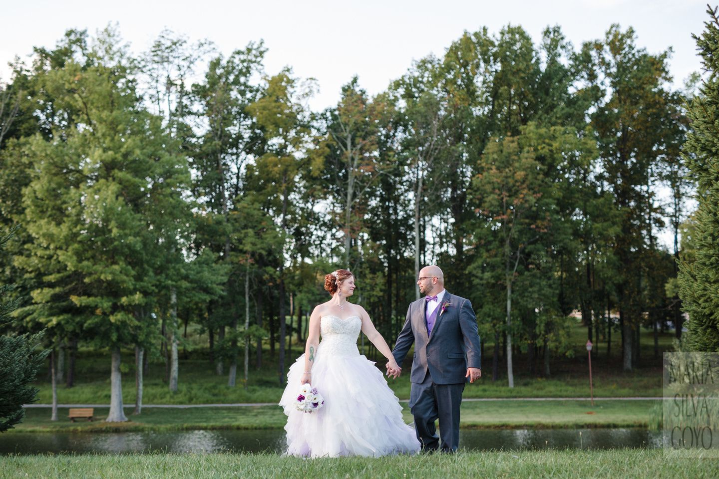 Bride and Groom with purple details @ Roundtop Mountain Resort Wedding - Lewisberry PA