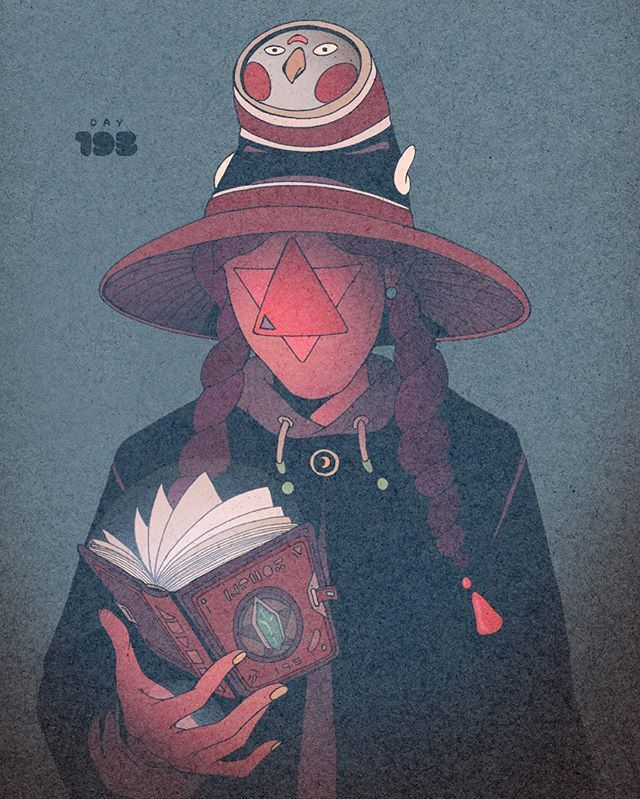 Day 193/365: Level Reverse Manual... Pages appear blank to all but the owner of the book. #artofvisuals #illustration #drawing #drawingchallenge #witch #drawingoftheday #characterdesign #originalcharacter #spell #magic #day193 #365project #comic #owl #levels #texture #experiment #漫画 #コミック #イラスト #アート #キャラクター #デザイン #ペン #インク #dirtyrobot #mello #powers #coolgirl #bookoflife by dirtyrobot