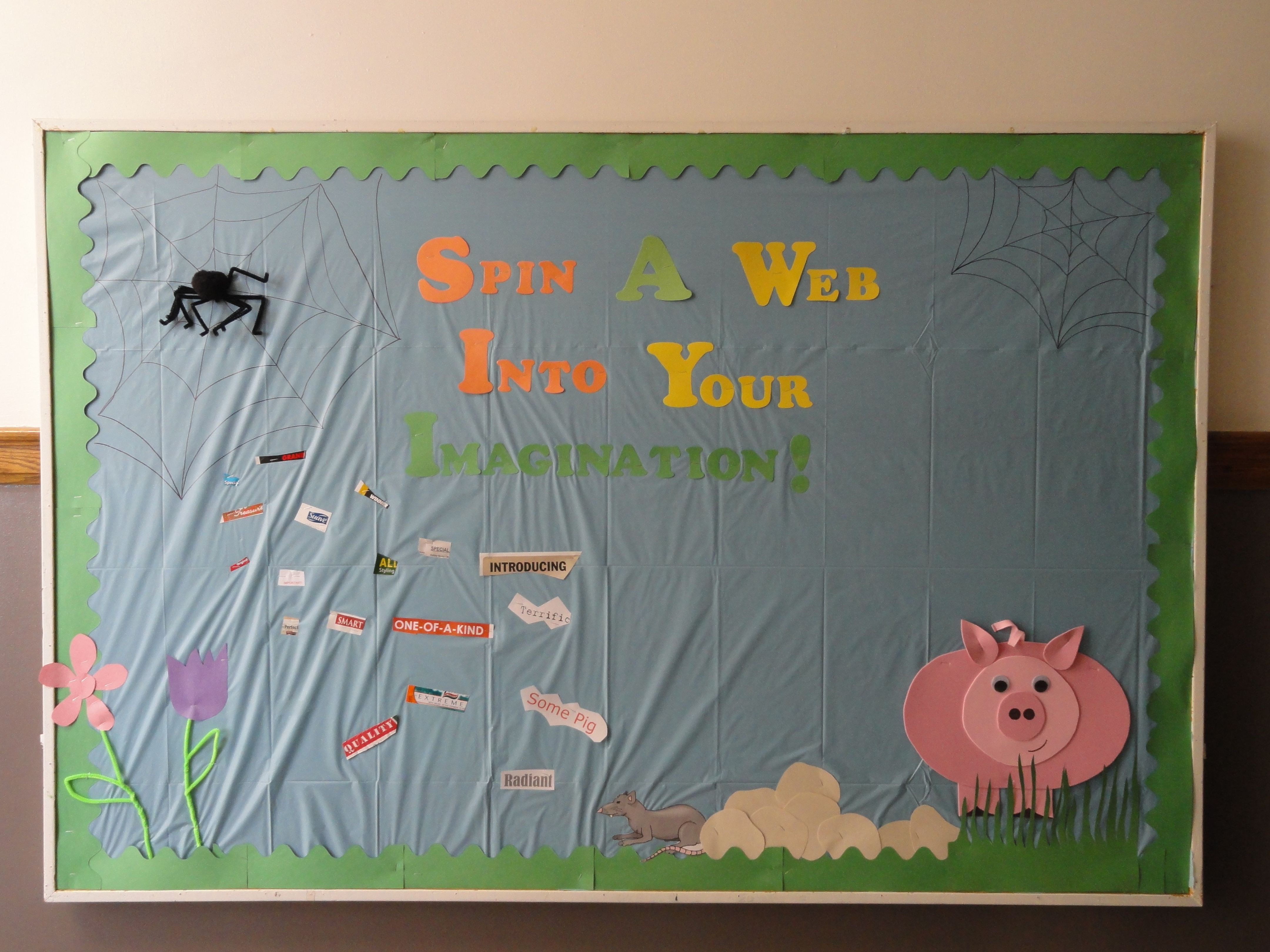 My first bulletin board charlotte 39 s web inspired thought for Pretty bulletin board