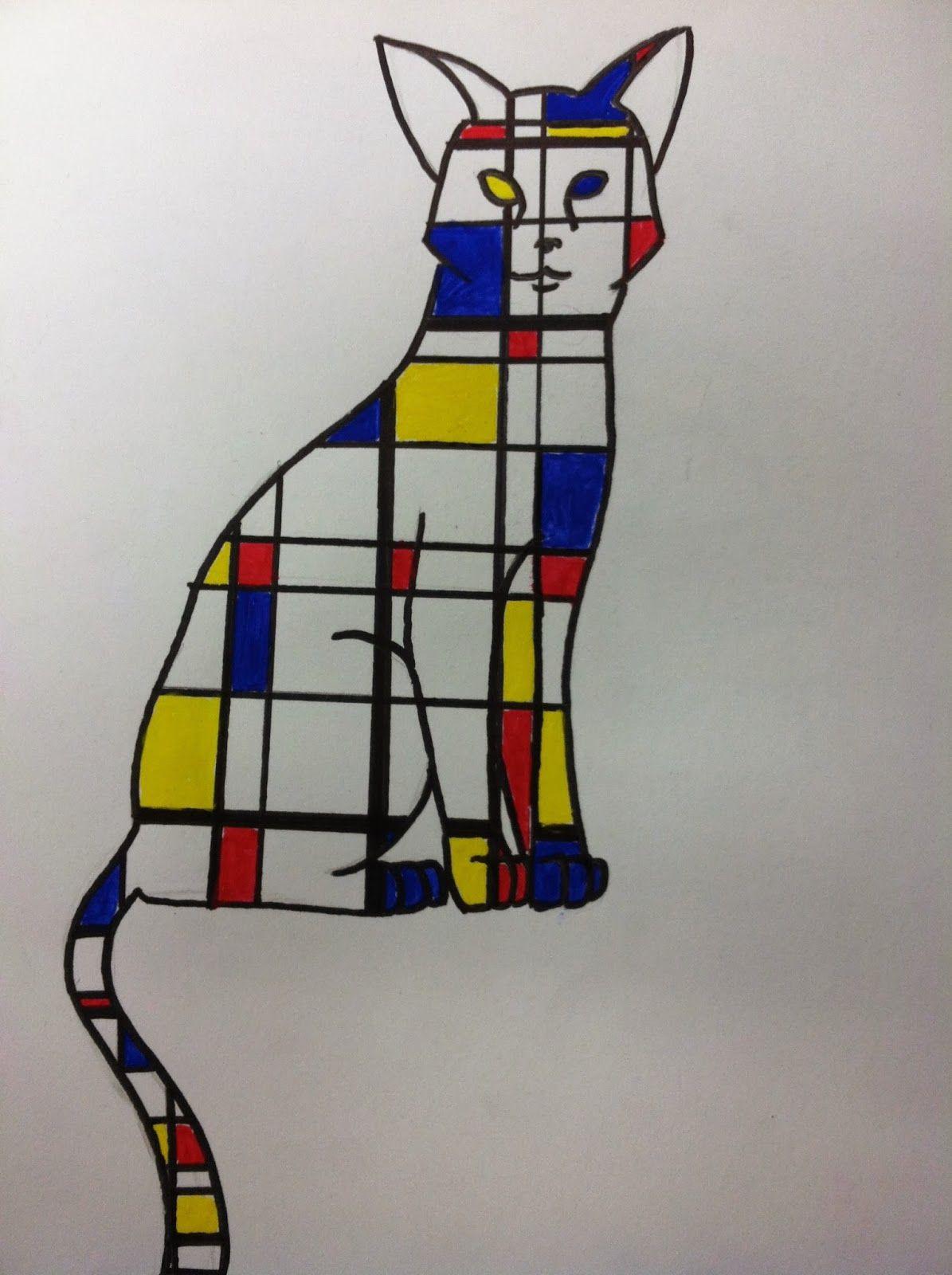 Mrs. Wille's Art Room Mondrian inspired animal paintings