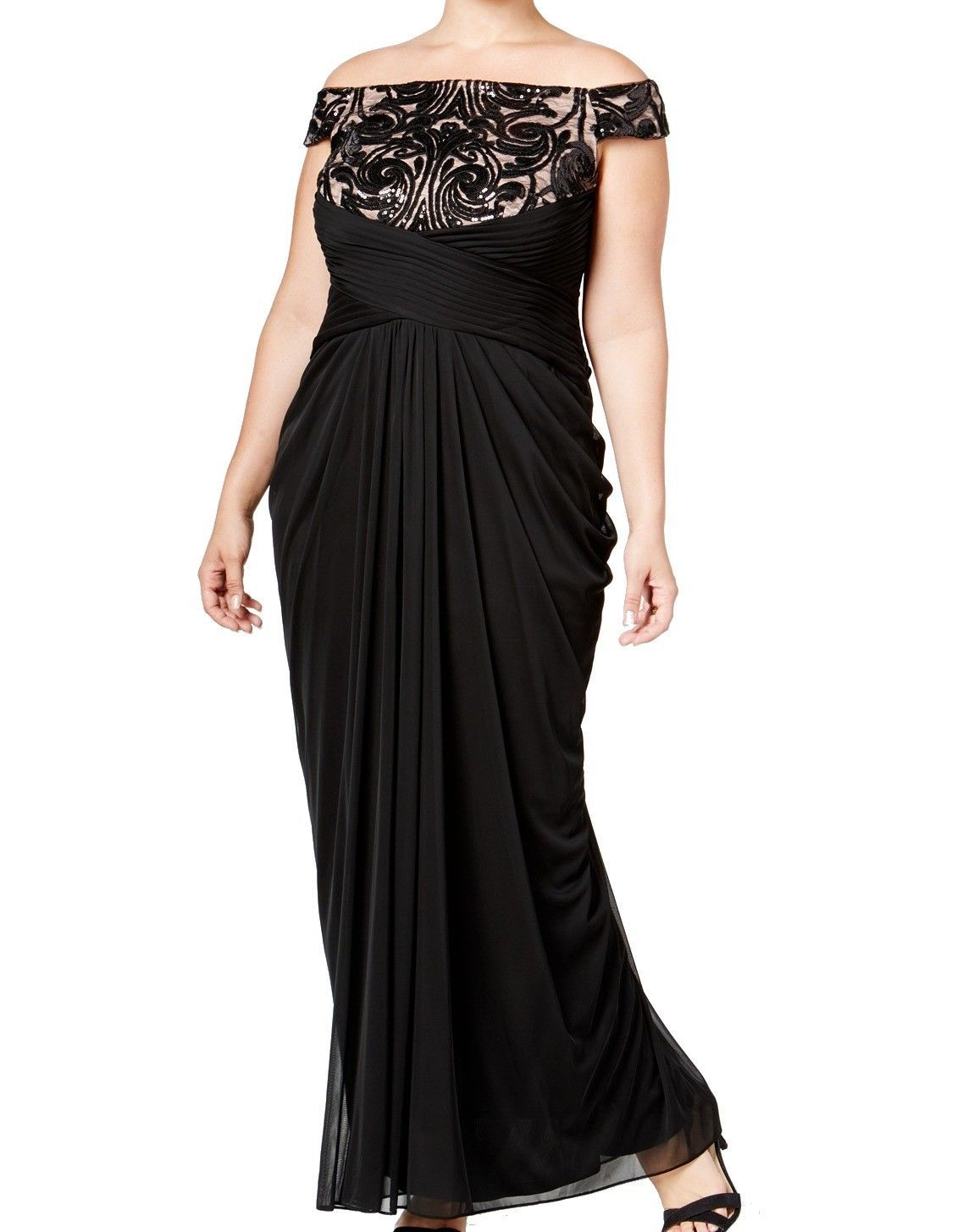 Awesome awesome adrianna papell new black lace sequin womenus w
