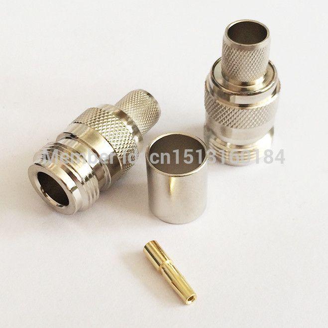 N Female Jack RF Coax Convertor Connector Crimp RG8,RG213,LMR400 Straight Nickelplated NEW wholesale