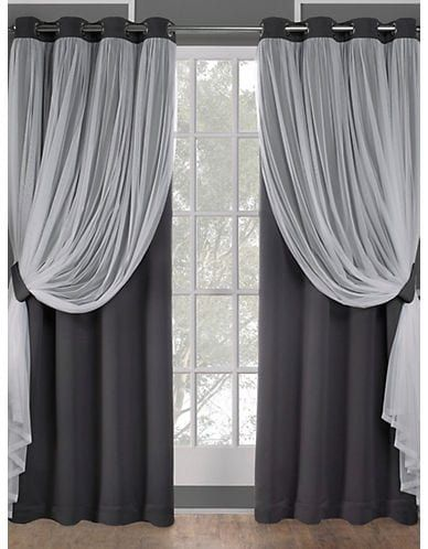 Home Outfitters Catarina Solid Sheer Layered Curtain Panel Pair Black Pearl Size 108 In Panel Curtains Curtains With Blinds Curtains