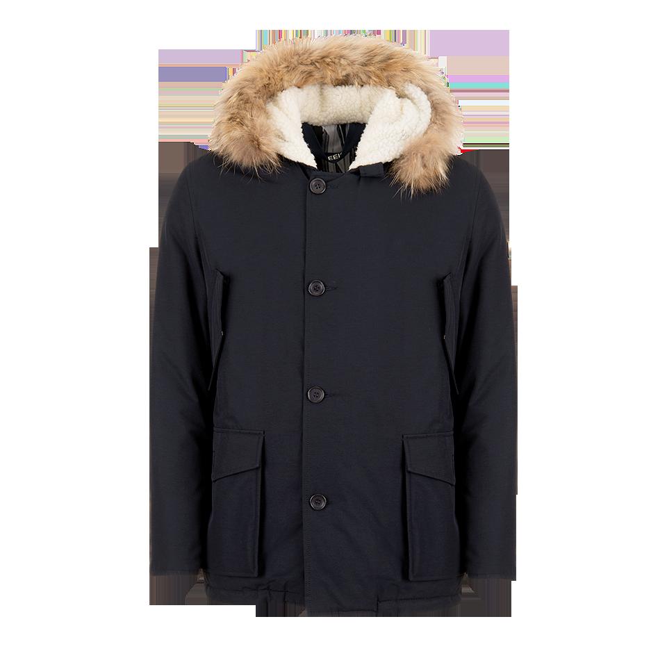 #ShortCoat Kent - Giaccone imbottito in cotone abbinato a nylon, bordato di pelliccia vera, interno con fodera in stampa fotografica