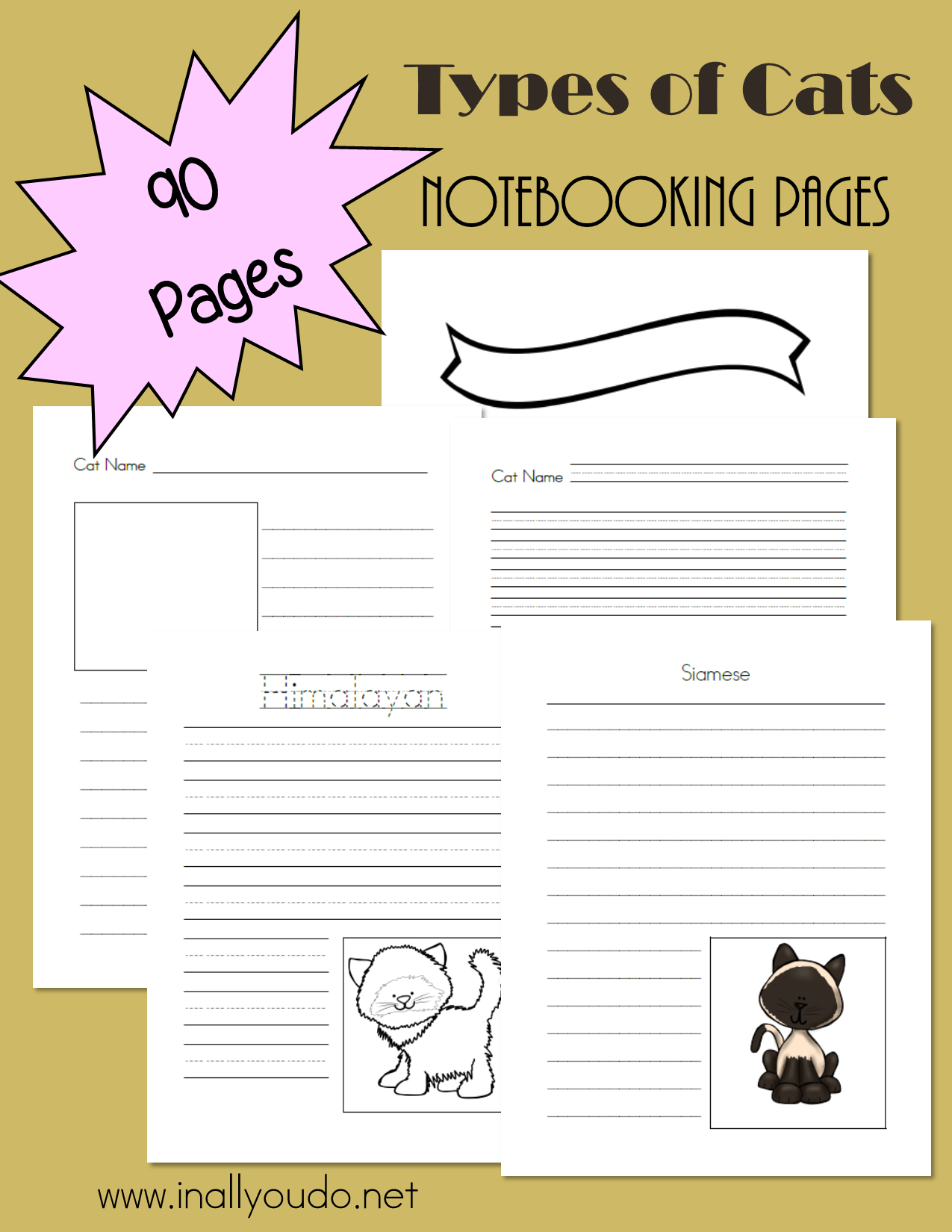 Types Of Cats Notebooking Pages A Link Up