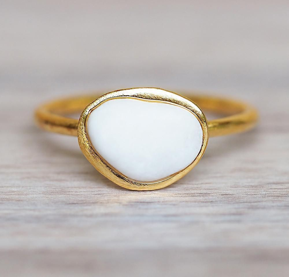 White Pebble And Gold Ring 20 Off Today Only Along With All Our Jewels Use Code 20offgold At Checkout Www Inandharper