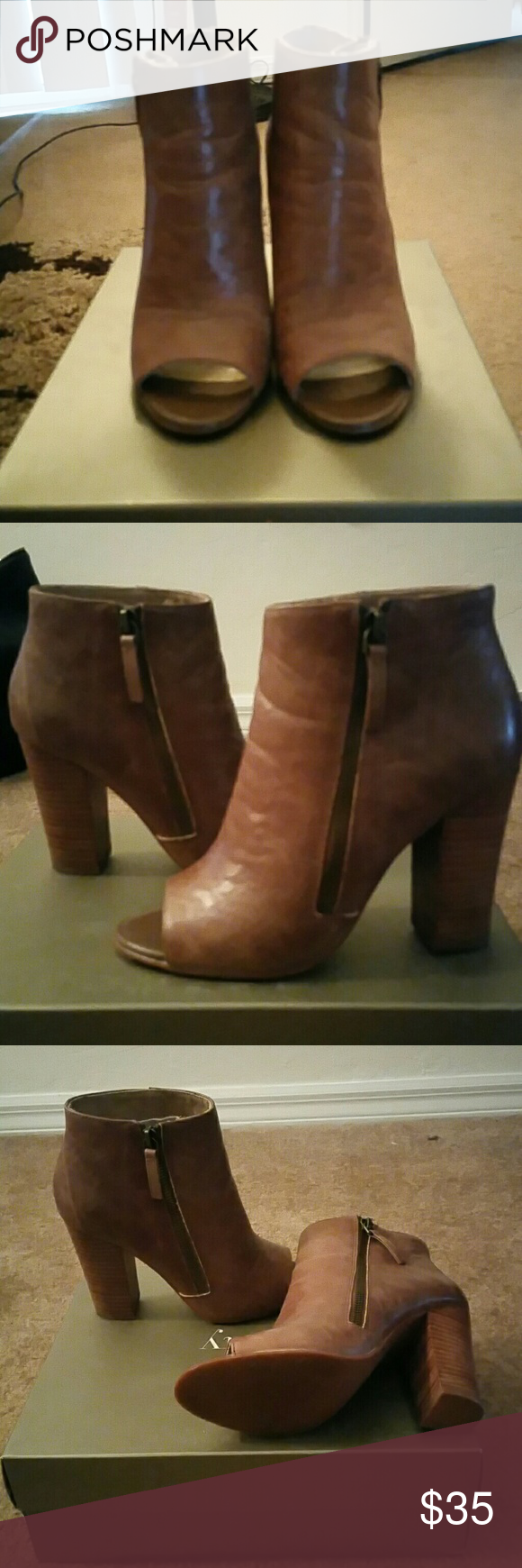 6d9681f8204 Levity Bootie Only Worn Once, In Box, Leather, Open Toe, Bootie With ...