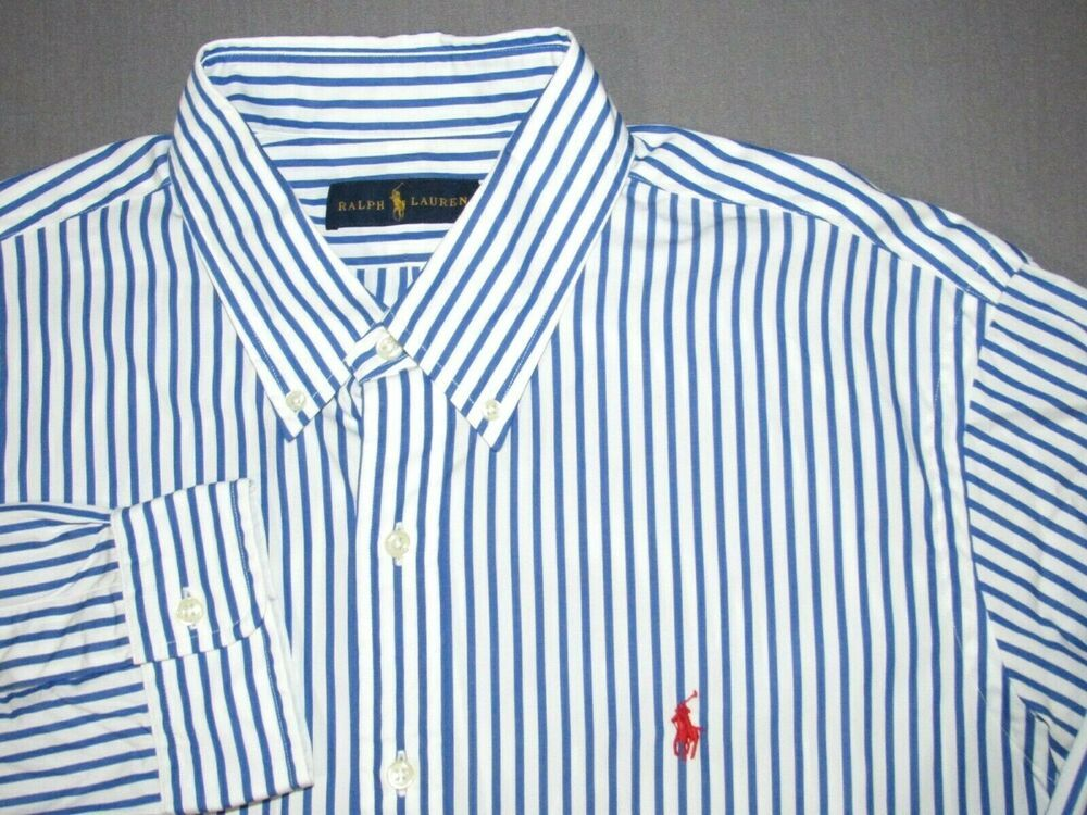 def1ec6df Men s Polo Ralph Lauren Long Sleeved Pin Striped Casual Button Up Shirt XL   fashion